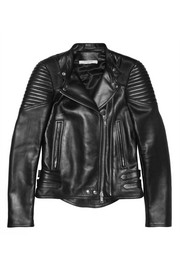 Givenchy Black leather biker jacket with ribbed panels