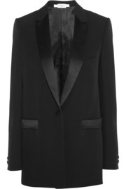Black wool jacket with satin details