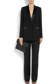 Straight-leg pants in black wool