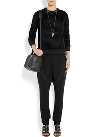 Tapered pants in black stretch-cady