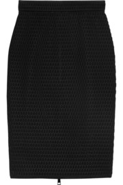 Bonded mesh pencil skirt with net overlay
