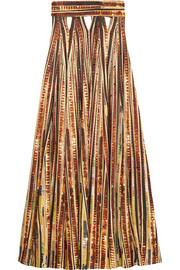Givenchy Sequin-embellished cutout printed jersey maxi skirt