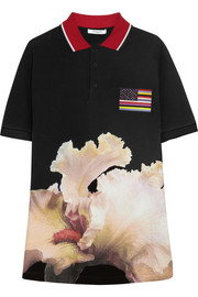 Polo shirt in black cotton-piqué with orchid print