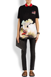 Givenchy Polo shirt in black cotton-piqué with orchid print