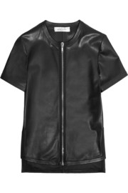 Top with front zip in black leather