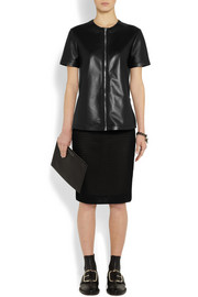 Givenchy Top with front zip in black leather