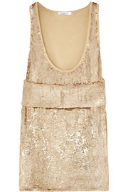 Gold sequined stretch-silk top with front band