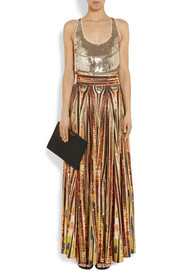 Givenchy Gold sequined stretch-silk top with front band