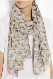 Lanvin Printed cotton and cashmere-blend scarf