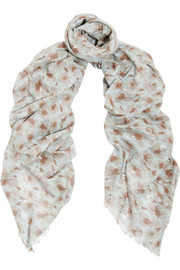Printed cotton and cashmere-blend scarf