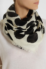 Lanvin Polka-dot cashmere and silk-blend scarf
