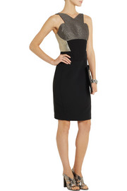 Antonio Berardi Stretch-crepe and metallic houndstooth jacquard dress