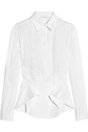 Antonio Berardi Cotton-poplin peplum shirt