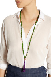 IAM by Ileana Makri Rose gold-plated nephrite tassel necklace