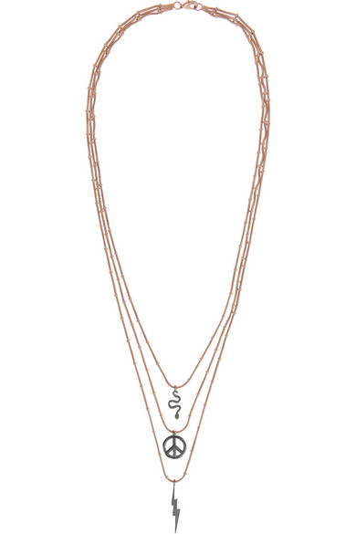 Sale alerts for Little Treasure rose gold-plated, oxidized silver and tsavorite necklace IAM by Ileana Makri - Covvet