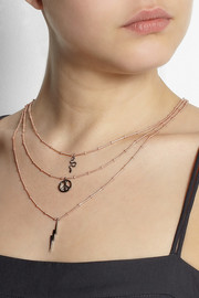 IAM by Ileana Makri Little Treasure rose gold-plated, oxidized silver and tsavorite necklace