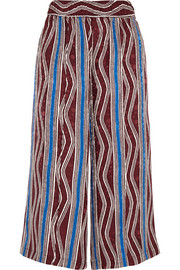 Suno Cropped printed washed-silk wide-leg pants