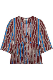 Suno Pleated printed washed-silk top