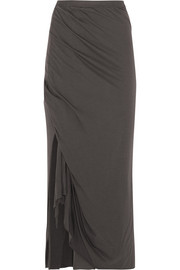 LILIES draped stretch-jersey maxi skirt