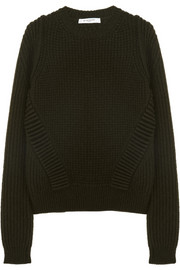 Givenchy Ottoman stitch crew neck knitted camel sweater