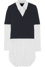 Alexander McQueen Wool-blend and cotton-poplin top