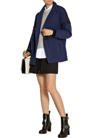 Drop-shoulder wool-blend felt coat