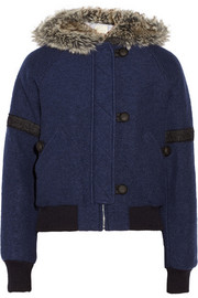 Band of Outsiders Faux fur-trimmed wool-blend bomber jacket