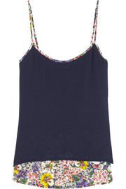 Band of Outsiders Floral-print silk crepe de chine camisole