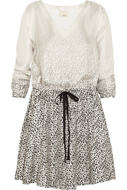 Band of Outsiders Degradé leopard-print silk-twill mini dress