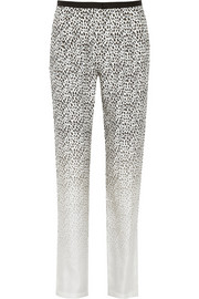 Band of Outsiders Degradé leopard-print silk-twill tapered pants