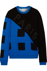 KENZO Appliquéd cotton-jersey and twill sweatshirt