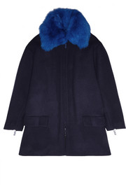 KENZO Shearling-trimmed wool-blend coat