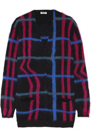 Checked knitted cardigan