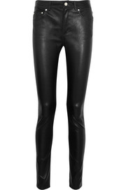 Close stretch-leather skinny pants
