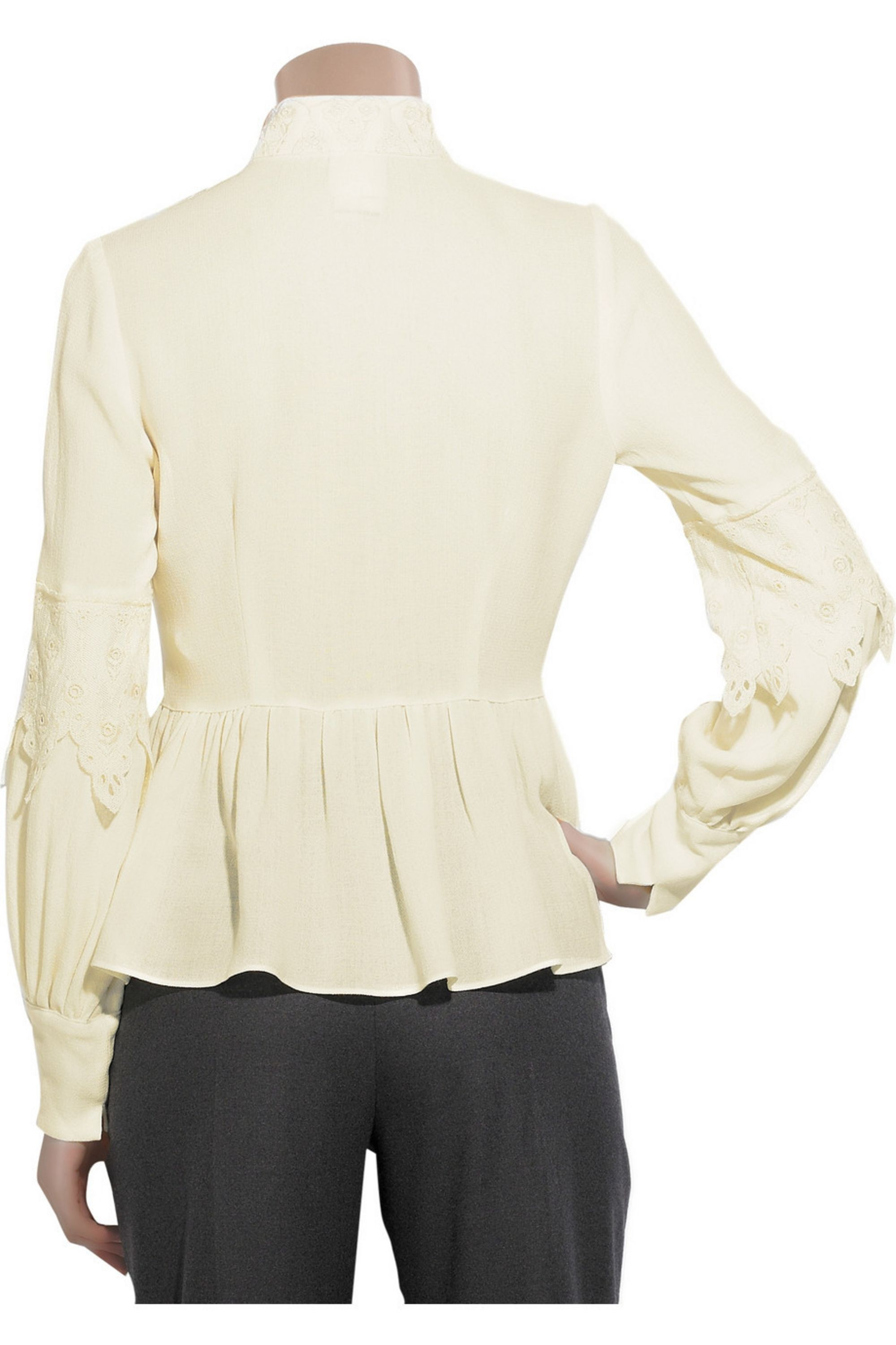 Anna Sui Wool-blend lace blouse