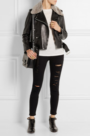 Acne Studios Shearling-trimmed leather biker jacket