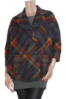 Diane von Furstenberg Short Didi checked coat