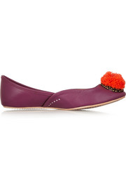 + Figue Pom Pom leather ballet flats