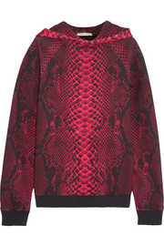 Christopher Kane Snake-print cotton-jersey hooded top