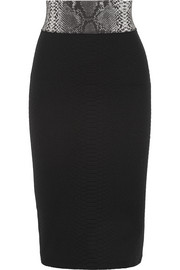 Christopher Kane Snake-effect stretch-jacquard jersey pencil skirt