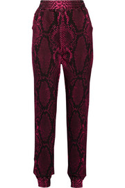 Snake-print cotton-fleece track pants