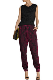 Christopher Kane Snake-print cotton-fleece track pants