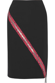 Christopher Kane Zip-detailed stretch-cady skirt