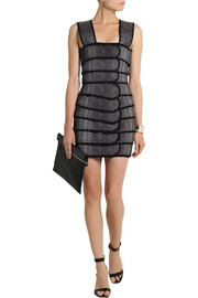 Christopher Kane Snake-print canvas and stretch-crepe mini dress
