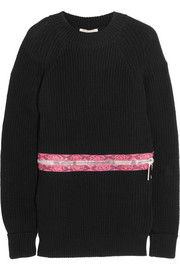 Zip-detailed ribbed cotton sweater