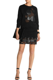 Christopher Kane Leather and mesh-appliquéd cotton-blend jersey sweatshirt