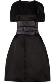 Christopher Kane Silk-satin and snake-print canvas dress