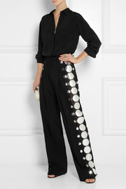 Christopher Kane Appliquéd stretch-cady wide-leg pants