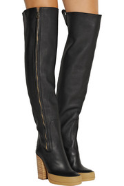 Chloé Textured-leather over-the-knee boots