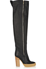 Textured-leather over-the-knee boots